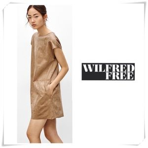 Aritzia Wilfred Free Faux Suede Nori Dress Tan